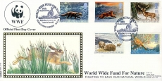 World Wide Fund for Nature WWF Panda, Hare Postmark Godalming official FDC stamps cover Benham refE11