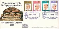 BBC SYMPHONY ORCHESTRA Royal Albert Hall London SW7 1980 Promenade Concerts special handstamp stamps cover Benham refE18