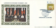 LONDON ECONOMIC SUMMIT 1984 Lancaster House stamp cover Benham refE31