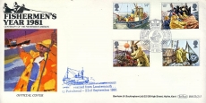 Centenary of the Fishermen's Mission 1981 Official LOSSIEMOUTH to PETERHEAD cover Fishing boats and trawlers stamps cover Benham refE38