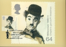 CHARLIE CHAPLIN 1889-1977 COMIC GENIUS Postcard special hand stamp WALWORTH London SE17 postmark refE118