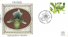 1993 BS21 ORCHIDS Paphiopedilum x Maudiae Gardeners London Ltd Edition small silk cover refF56
