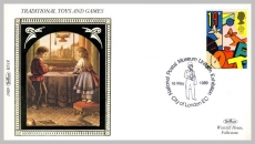 1989 BS18 Traditional Toys and Games Postal Museum Uniform Exhibition Ltd Edition small silk cover refF70