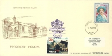 Pickering Railway Station commemorative cover YORK fdi Queen Mother 90th Birthday 1990 stamp cover refD281