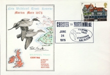 1975 LTD EDITION Wildfowl Trust stamp cover Chester to Martinmere Stagecoach Run refD119