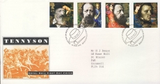 1992-03-10 Alfred Lord Tennyson Stamps FDC 99p cover refcd453