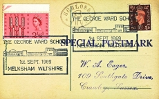 1969 George Ward School Melksham SCHLOSS THUN Special Postmark postcard refP6-20