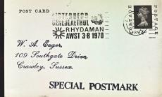 1970 Eisteddfod GENEDLAEYHOL Rhydaman AWST Special Postmark postcard refP6-3