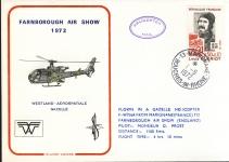 1972 Farnborough Air Show Gazelle Helicopter flown Military cover Marignane cd12