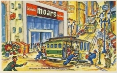 San Francisco Turntable Cable Cars CAFETERIA MOARS 1951 Ted Lewy POSTCARD box3