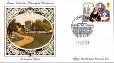 1987 BUCKINGHAM PALACE London Queen Victoria sm silk cover ref75
