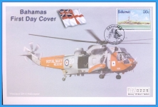 2001 Bahamas Westland SH-3 Helicopter Mercury First Day Cover refB56